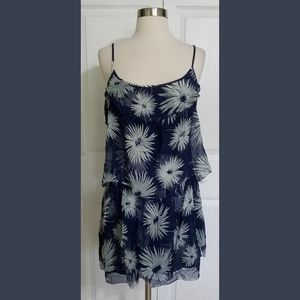 Juicy Couture Blue Tiered Floral Mini Dress Small